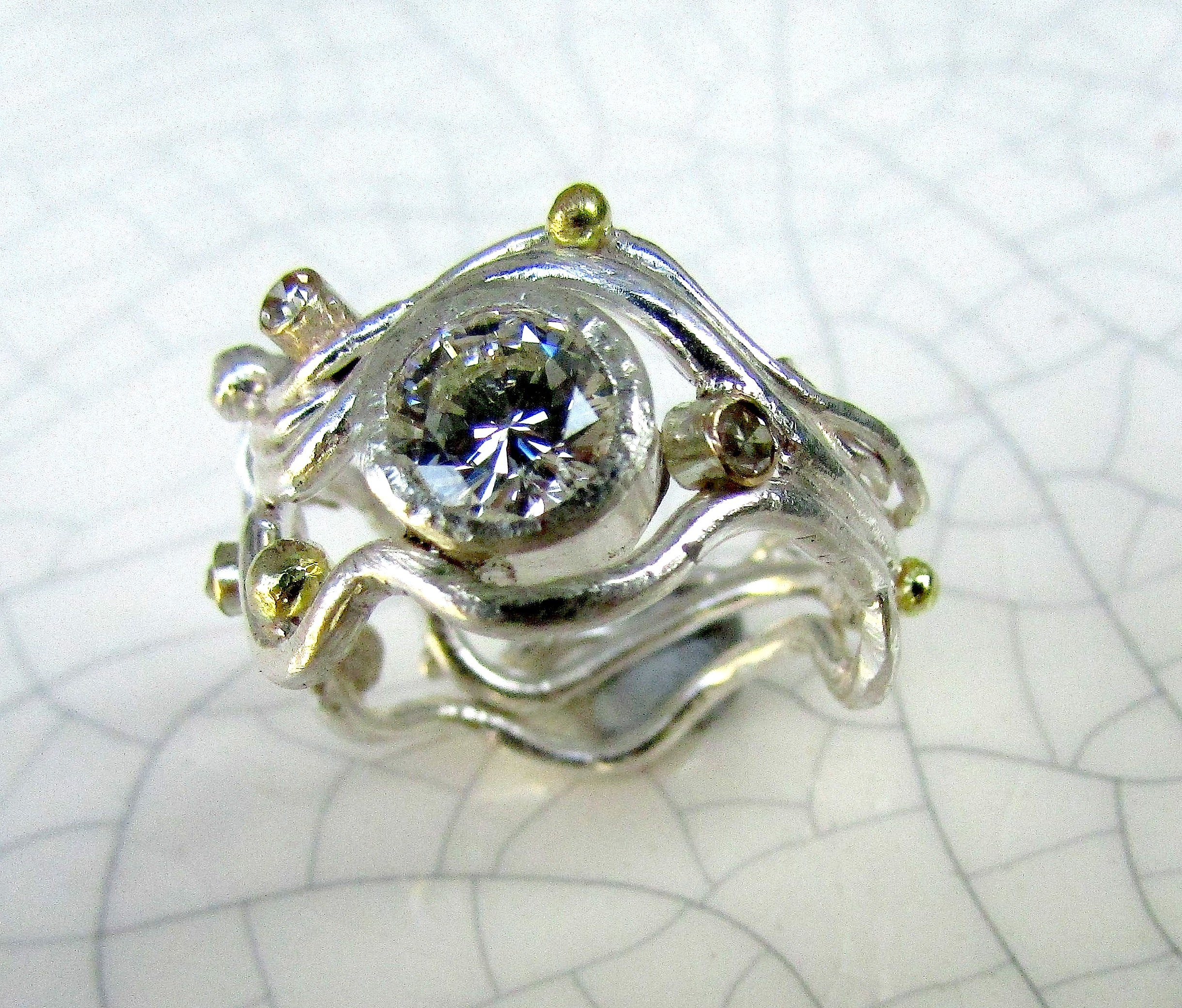 fine silver ring with keum boo and blue tourmaline